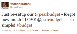 @donnashenk Just re-setup our @pearbudget - forgot how much I LOVE @pearbudget -- so simple #budget